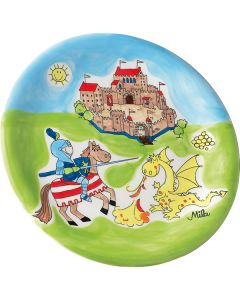 Children's Knight and Dragon Hand Painted Ceramic Plate