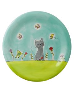 Children's Cat in the Meadow Hand Painted Ceramic Plate