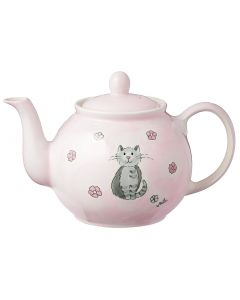 Hand Painted Teapot - Pink Cat