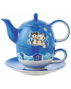 tea for one featuring two cats at a night time star gazing