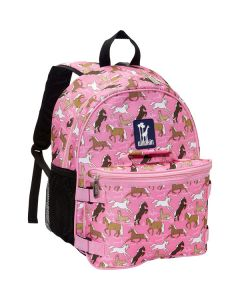 girls backpack with lunchbag - pink horses