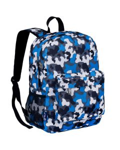 Children's Backpack with Front Pocket - Blue Camo