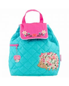 Children's Personalisable Bright blue and pink Quilted Backpack Hedgehog