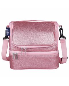 Dual Compartment Lunch Bag - Pink Glitter